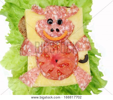 creative sandwich with cheese and salami hippo form
