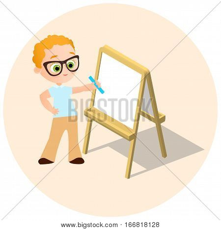 Isometric Easel. Young Boy With Glasses Drawing Whiteboard. Paint Desk And White Paper Isolated On W