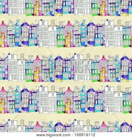 Netherlands houses hand drawn seamless pattern. Doodle background. Watercolor illustration with Amsterdam city. Old town. City center, historic buildings. Europe.