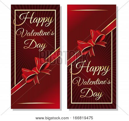 Valentine's Day banners set. Dark red background, design, card for Valentine's Day. Set flyers with red ribbon, bow and gold greeting inscription - Happy Valentine's Day. Vector illustration