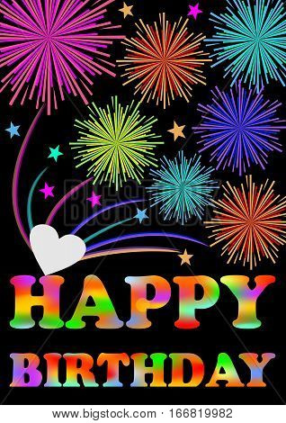 Happy birthday billboard. Firework over happy birthday inscription. Colorful birthday greeting decoration. Rainbow birthday party decoration on black background.