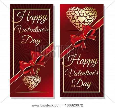 Red background with ribbon and bow for Valentine's Day. Greeting inscription - Happy Valentine's Day. Golden heart on red background. Gold greeting inscription. Vector illustration