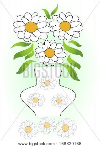 White flowers bouquet in vase with white flowers decoration. White flowers mirror image. White flower composition on green gradient background.