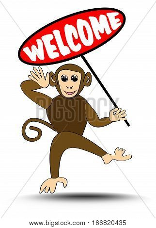 Cute funny leaping monkey with welcome billboard, illustration for children, talisman for playground, playroom or kindergarten, isolated animal on white background