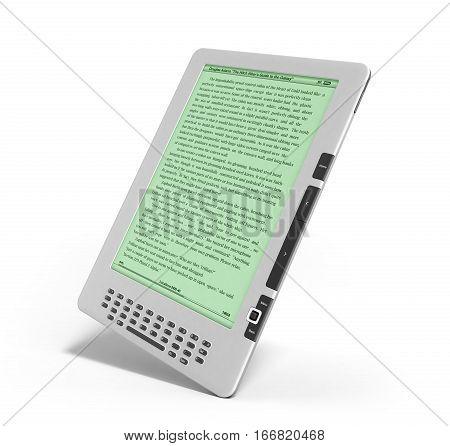 E-book Reader 3D Render Image On White