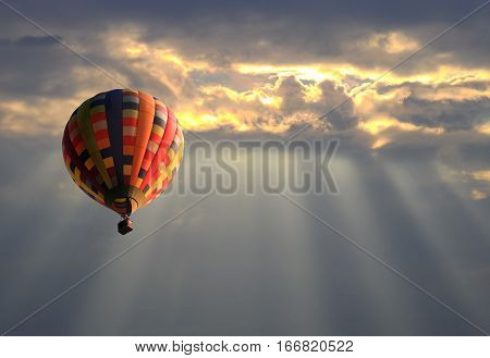 Colourful Hot air balloon in the sunset sky and sunlight.