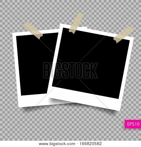 two retro polaroid photo frame  template on sticky tape pin with shadow isolated on transparency background, vector illustration eps 10