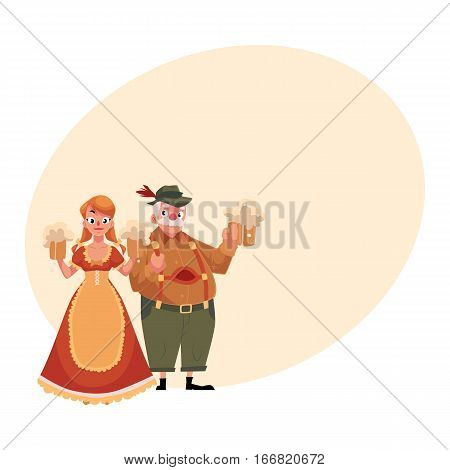 Young man and woman in traditional German, Bavarian, Austrian Oktoberfest costume holding beer mugs, cartoon vector illustration with place for text. German couple in traditional costume