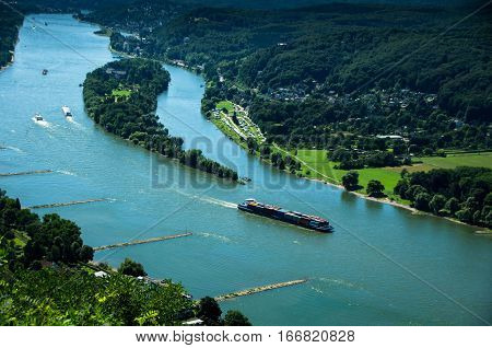 View of Rhine River from Drachenfels in seven Mountains region,middle Rhine Valley,Germany