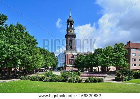 Hamburg Germany. Church of St. Michael in a sunny summer day