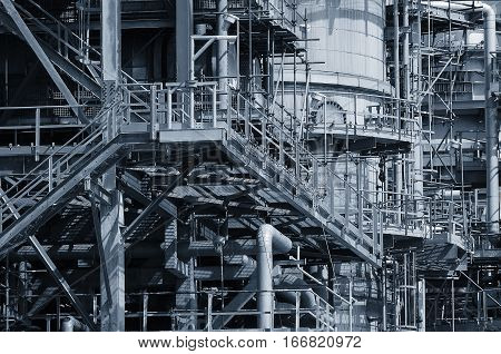 Pipelines And Towers View Of Oil And Gas Refinery