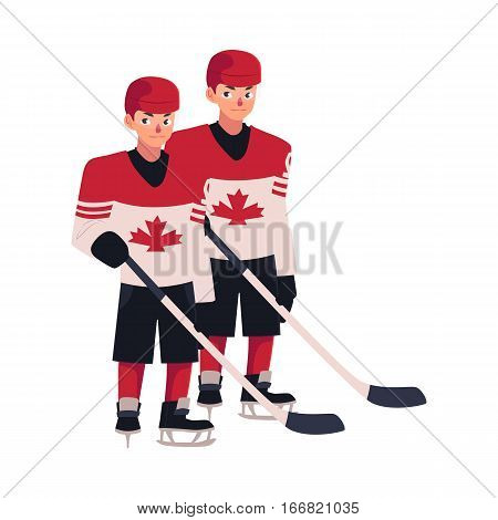 Two hockey players in Canadian uniform with maple leaf standing and holding sticks, cartoon vector illustration isolated on white background. Full length portrait of two Canadian hockey players
