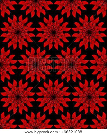 Red plastic flower on black background. Seamless vector background. Contrasting ornament background. Symmetric red flower. Patterns with relief effect. Red star shape. Multilayered star