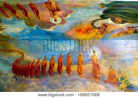 Peintings of Maha Wizaya Paya pagoda at Yangon on Myanmar