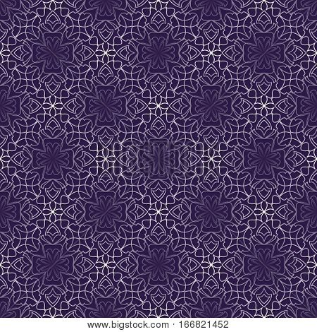 Dark purple abstract vintage background with rhomboid lace patterns. Seamless white vector ornament in diagonal stripes
