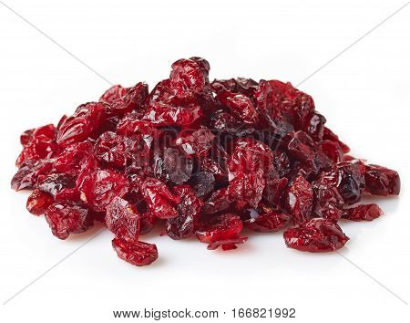 Dried red cranberries isolated on white background