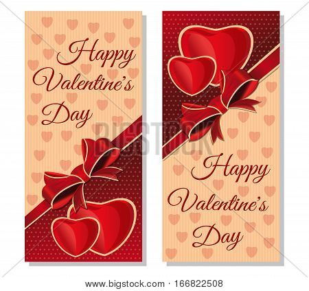 Set banners with congratulatory inscription for Valentines Day. Happy Valentine's Day. Vintage greeting cards for Valentine's Day