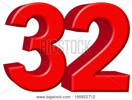 Numeral 32, Thirty Two, Isolated On White Background, 3D Render