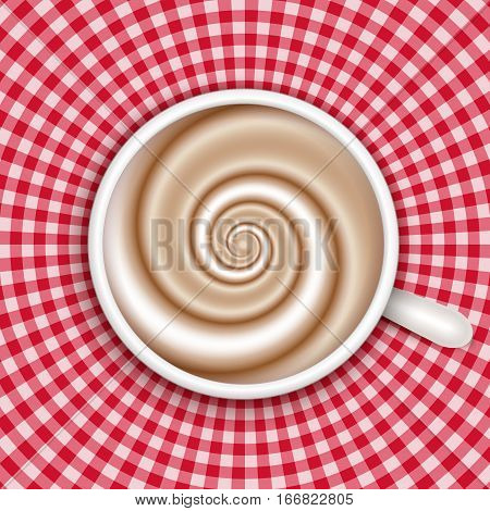 Top view white coffee cup on red gingham round background . Cappuccino full cup hot chocolate coffee and cream high milk foam. Coffee cup top view vector illustration