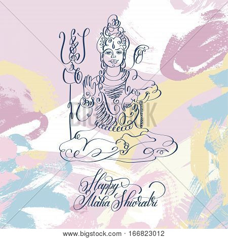 Happy Maha Shivratri black and white line art greeting card design to indian celebration festival with lord Shiva and calligraphic modern lettering, vector illustration