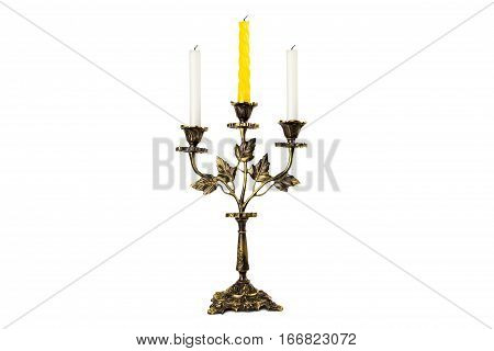 antiquarian candlestick with candles isolated on white background