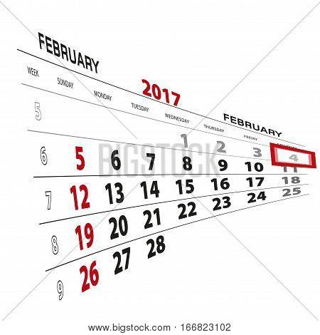 February 4, Highlighted On 2017 Calendar.