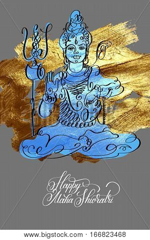 Happy Maha Shivratri black line art greeting card on gold brush strokes design to indian celebration festival with lord Shiva and calligraphic modern lettering, vector illustration