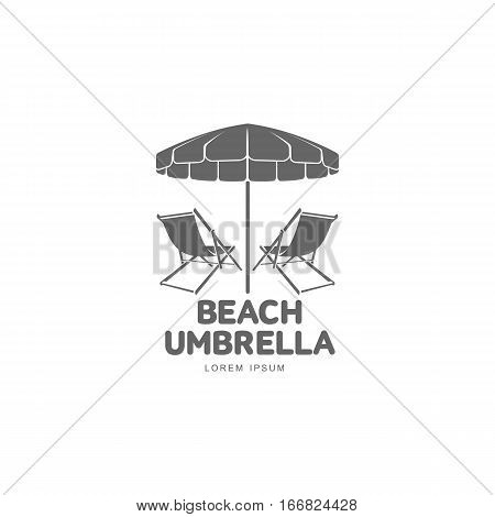 Logo template with beach umbrella and sun bathing lounge chair, vector illustration isolated on white background. Black and white graphic logotype, logo template with sunbathing chair and umbrella