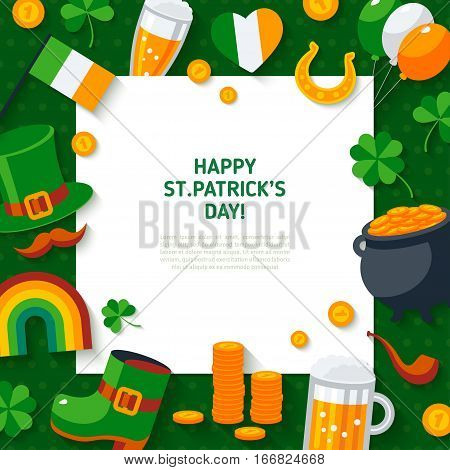 Happy St. Patrick's Day Background. Flat Irish Icons with Square Frame. Vector illustration. Ireland concept symbols. Four Leaves Clover, Leprechaun Hat, Pot of Gold, Rainbow, Horseshoe.