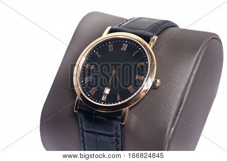 manual men's watch isolated on a white background