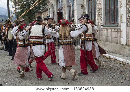 Yasynya Ukraine - September 29 2016: Hutsuls in national costumes perform folk dance as part of Phase 2 of the International Conference