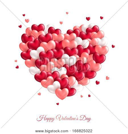 Heart shaped cloud with many small hearts. Vector illustration. Happy Valentine's Day greeting card. Love concept symbol.