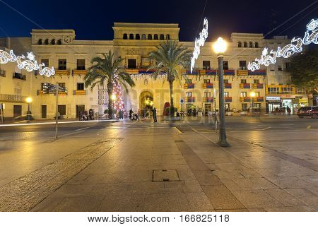 Town Hall Square Of Elche At Night