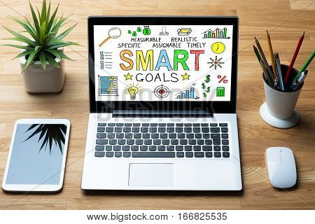 Close-up Of Laptop Showing Smart Goals Concept With Mobilephone On Wooden Desk