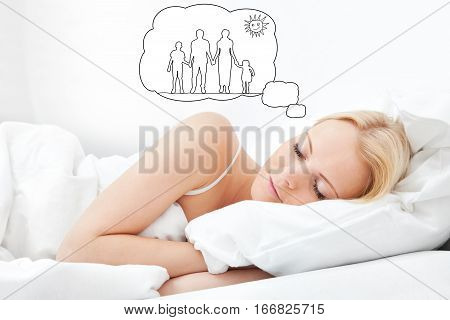 Young Woman Dreaming Of Having Family Together While Sleeping On Bed