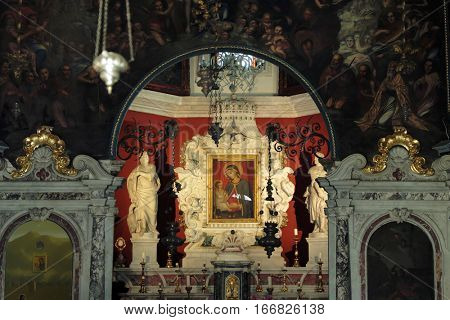 PERAST, MONTENEGRO - YULY 17, 2016: Virgin Mary icon into the Church of Our Lady of the Rocks in a islet of the Kotor Bay, Montenegro