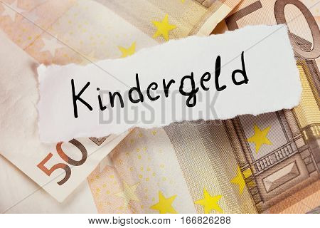 The German Term For Child Allowance Text Written On White Paper