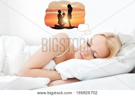 Young Beautiful Woman Dreaming Of Having Romantic Time Spending With Her Boyfriend While Sleeping