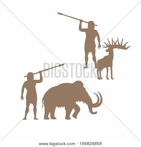 Silhouettes of ancient man and animals, mammoth and deer, isolated vector for logo design