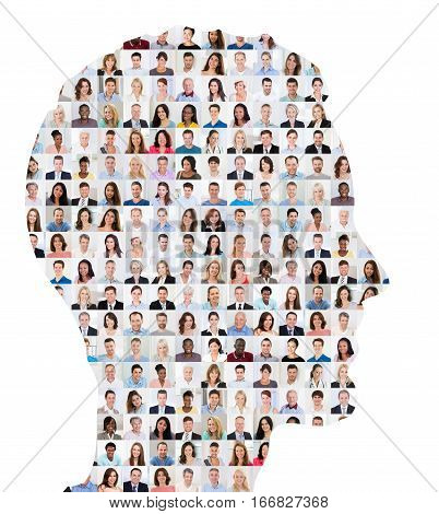 Superimposed Collage Of People On Human Face On White Background