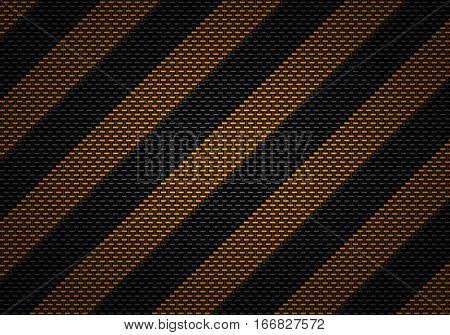 Abstract modern black carbon fiber textured material design with warning tape for background graphic design