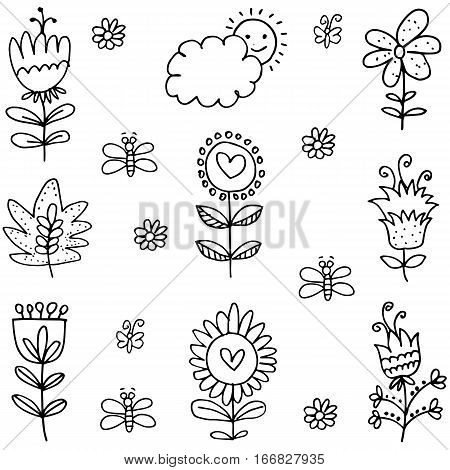 Vector art of spring with hand draw collection stock