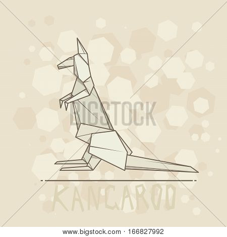 Vector simple illustration paper origami of kangaroo.