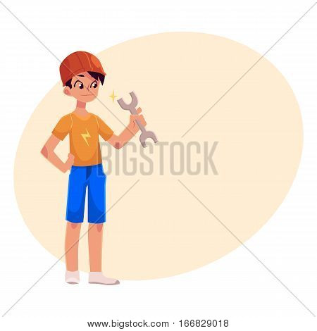 Teenage boy in orange builder helmet holding a wrench, cartoon vector on background with place for text. Full length portrait of boy holding wrench and wearing safety helmet, repair concept