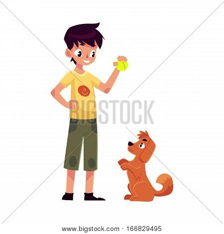 Teenage boy standing and playing with his fluffy red dog, puppy, cartoon vector illustration on white background. Full length portrait of black haired boy playing with his dog using a ball