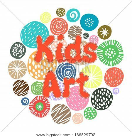 KIds Art hobby club design with cute children patterns or kids sketch dots. Vector illustration