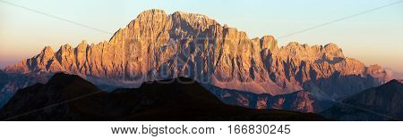 Evening panoramic view of mount Civetta South Tirol dolomites mountains Italy