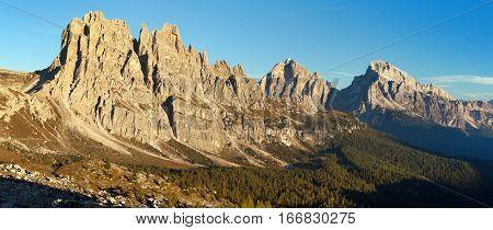 Morning panoramic view of Cima Ambrizzola Croda da Lago and Le Tofane Gruppe Dolomites mountains Italy