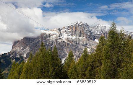 View of Tofana or Le Tofane gruppe Dolomites Italy
