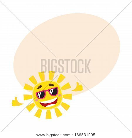 Smiling, cheerful sun wearing sunglasses, cartoon vector illustration on background with place for text. Cute and funny sun character in sunglasses showing thumb up, symbol of summer and vacation